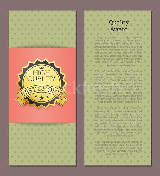 Yüksek kalite ödül en İyi seçim vektör afiş Stok fotoğraf © robuart