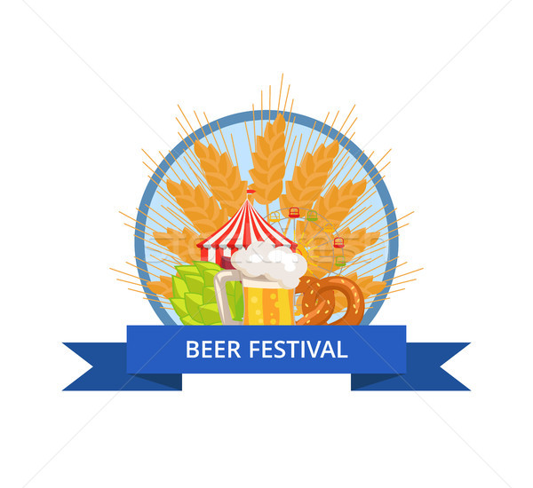 Stock photo: Beer Festival Logo Vector in Circle with Ribbon
