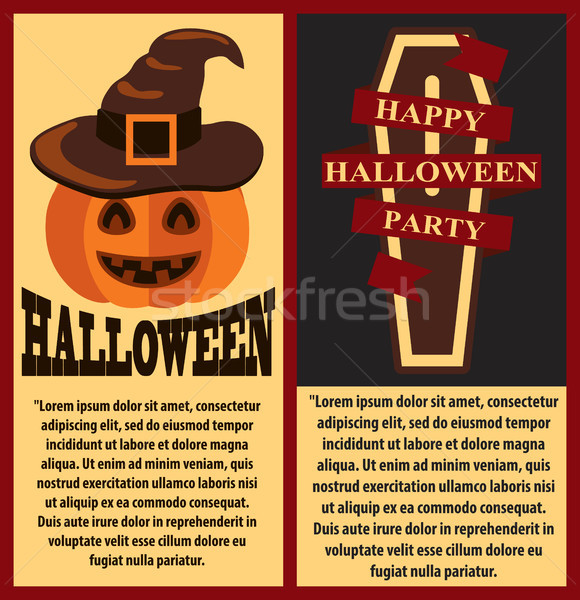 Happy Halloween PostersSet Vector Illustration Stock photo © robuart