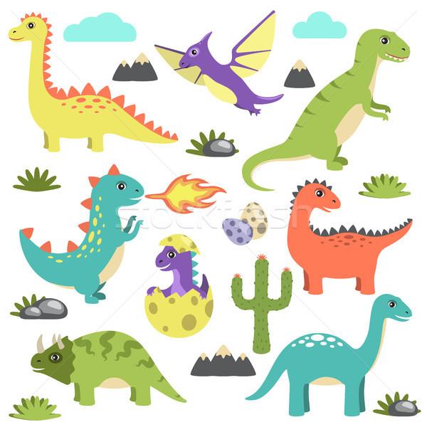 Set of Dinosaurs Icons on Vector Illustration Stock photo © robuart
