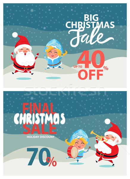 Christmas sprzedaży promo plakat Święty mikołaj Zdjęcia stock © robuart