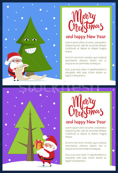 Merry Christmas and Funny Tree Vector Illustration Stock photo © robuart
