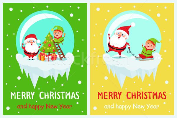Merry Christmas Joyfulness Vector Illustration Stock photo © robuart