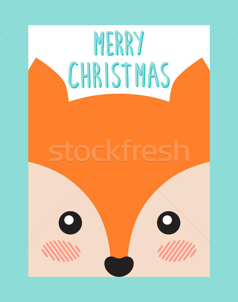 Merry Christmas Postcard with Cute Fox or Squirrel Stock photo © robuart