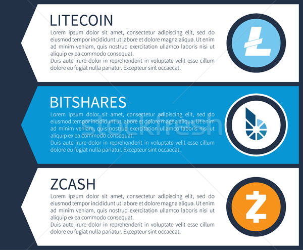 Blue Litecoin, White Bitshares and Orange Zcash Stock photo © robuart