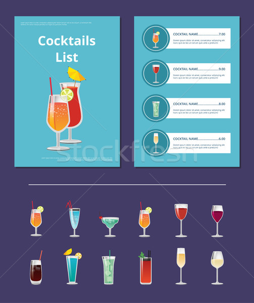 Cocktail List Advertisement Poster with Prices Stock photo © robuart