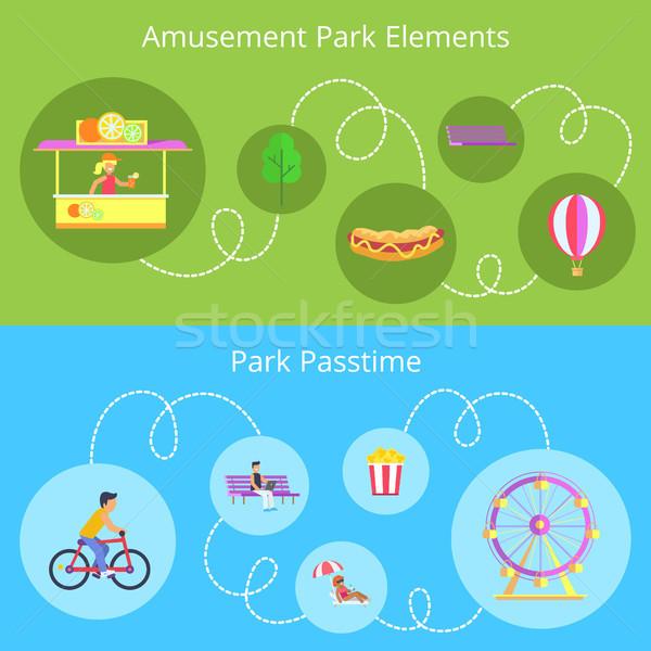 Amusement Park Elements Set Vector Illustration Stock photo © robuart