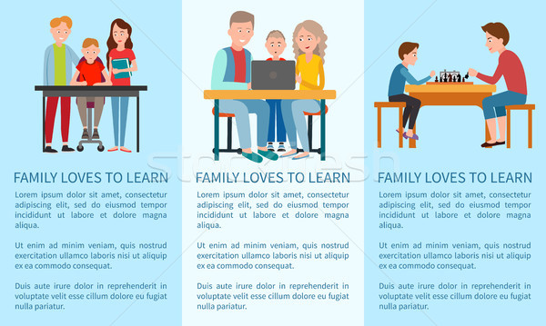 Three Family Loves to Learn and Sports Posters Stock photo © robuart