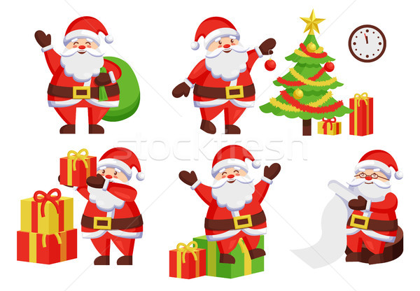 Santa Claus Activities Vector Illustration Poster Stock photo © robuart