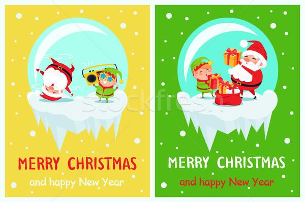 Gelukkig nieuwjaar vrolijk christmas poster elf Stockfoto © robuart