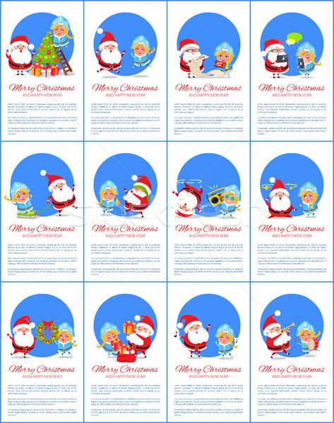 Vidám karácsony szett plakát boldog új évet szöveg Stock fotó © robuart
