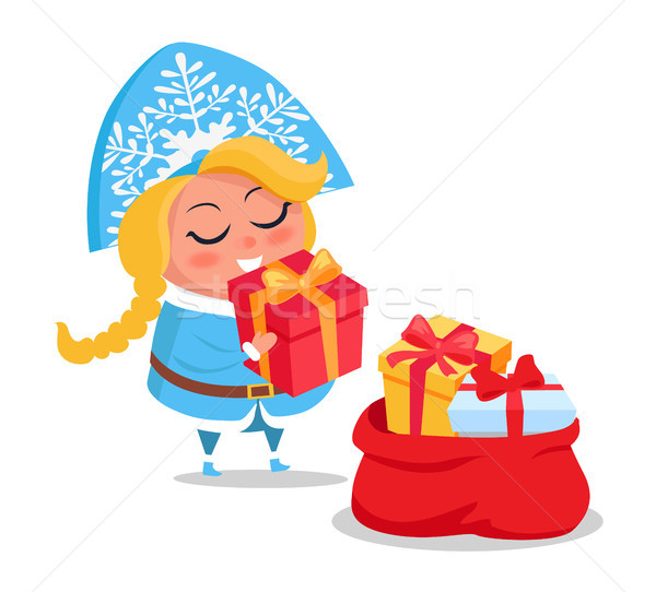 Snow Maiden with Presents Icon Vector Illustration Stock photo © robuart