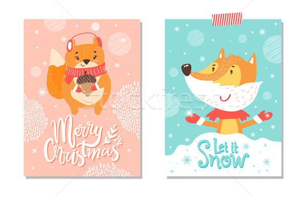 Let it Snow Merry Christmas on Vector Illustration Stock photo © robuart