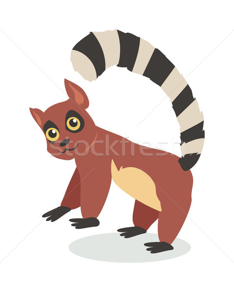 Cute Lemur Cartoon Icon in Flat Design Stock photo © robuart