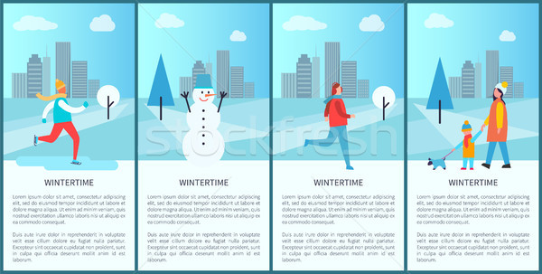 Wintertime Set of Placards on Vector Illustration Stock photo © robuart