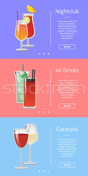 Nightclub Drinks and Cocktails Vector Illustration Stock photo © robuart