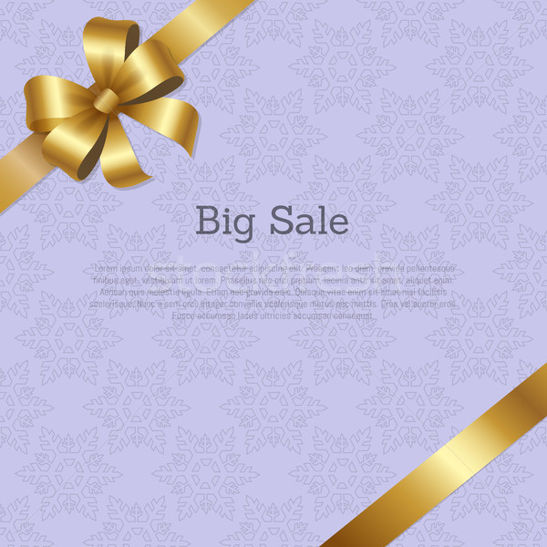 Big Sale Cover Design with Golden Bow on Ribbon Stock photo © robuart