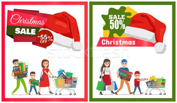 Foto stock: Par · natal · venda · cartões · dois · famílias