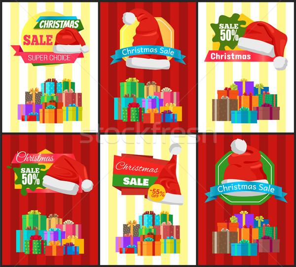Рождества продажи плакат настоящее рекламный Label Сток-фото © robuart