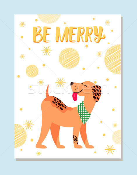 Be Merry Festive Postcard with Dog and Snowflakes Stock photo © robuart