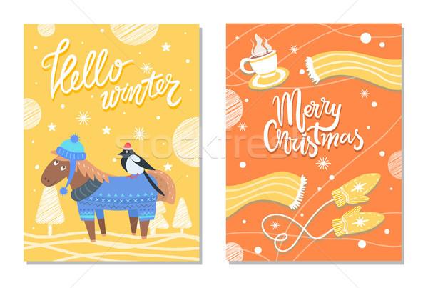 Neşeli Noel kış kartpostallar eşek bez Stok fotoğraf © robuart