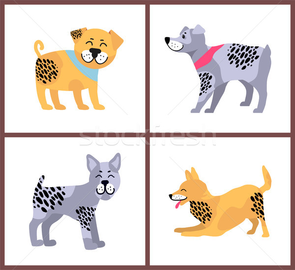 Happy Dogs Icons Collection on Vector Illustration Stock photo © robuart