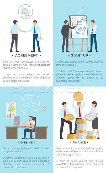 Business Set of Posters with White-Collar Workers Stock photo © robuart