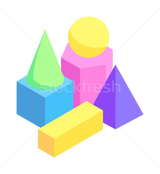 Mértani vektor poszter illusztráció színes gömb Stock fotó © robuart
