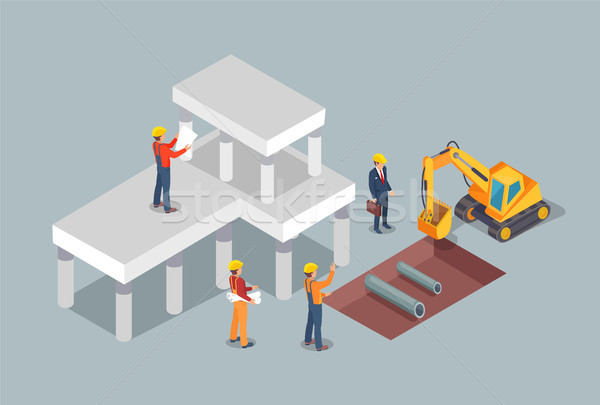 Building Process, Colorful Vector Illustration Stock photo © robuart