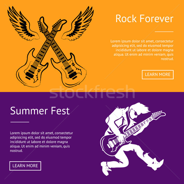 Rock Forever and Summer Fest Collection of Posters Stock photo © robuart