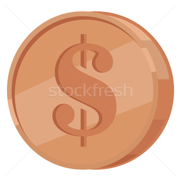 Copper Coin with Dollar Sign Flat Vector Icon Stock photo © robuart