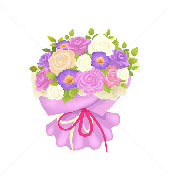 Gentle Bouquet of Rose and Daisy Flowers Wrapping Stock photo © robuart