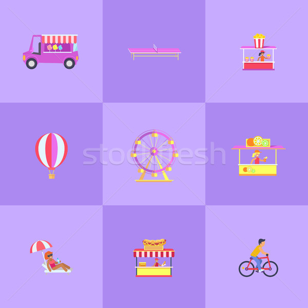 Parco di divertimenti set icone cotone popcorn Foto d'archivio © robuart