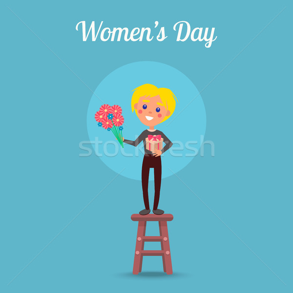 Stock photo: Womens Day Poster with Child on Stool Illustration