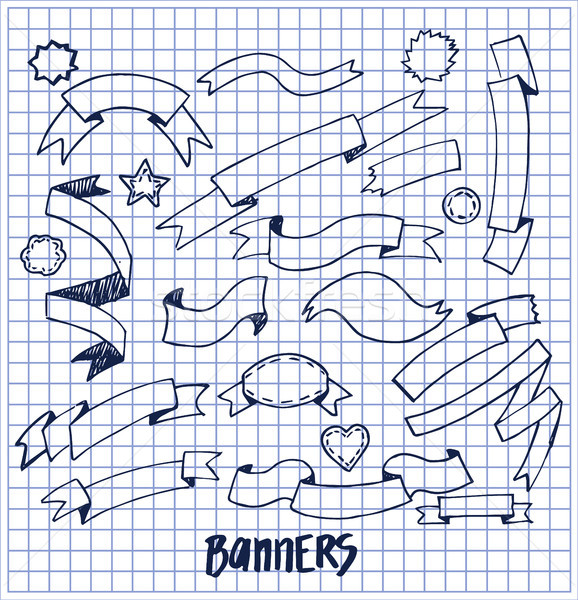 Banners Ink Pen Sketches of Blue Color, Hand drawn Stock photo © robuart