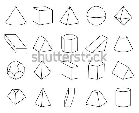 Geometric Prism Set, Varied Forms Figures Drawing Stock photo © robuart