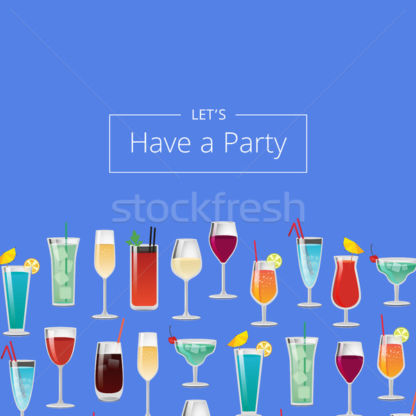 Party Cocktails Poster with Different Long Drinks Stock photo © robuart