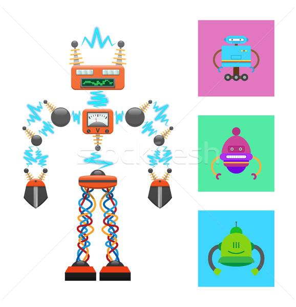 Futuristic Robot Template on White Background Stock photo © robuart