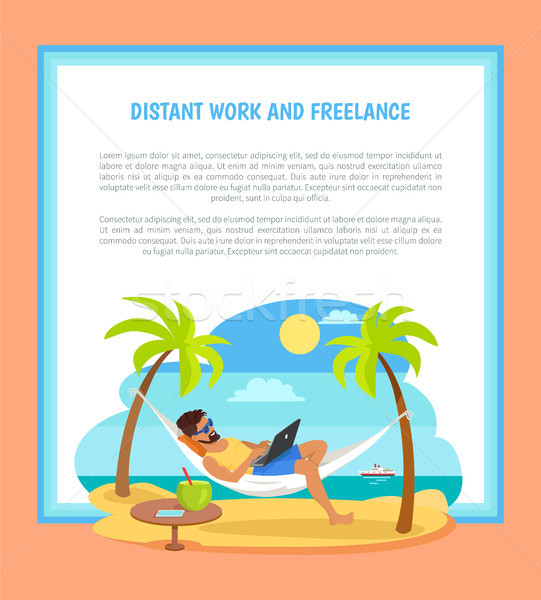 Distant Work and Freelance Poster Freelancer Man Stock photo © robuart