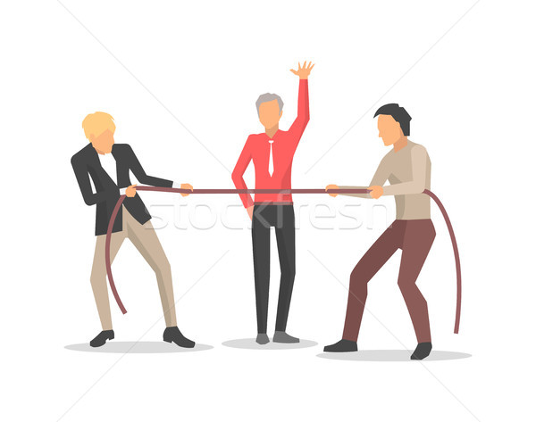 Stock photo: Competition of Two Men on Vector Illustration
