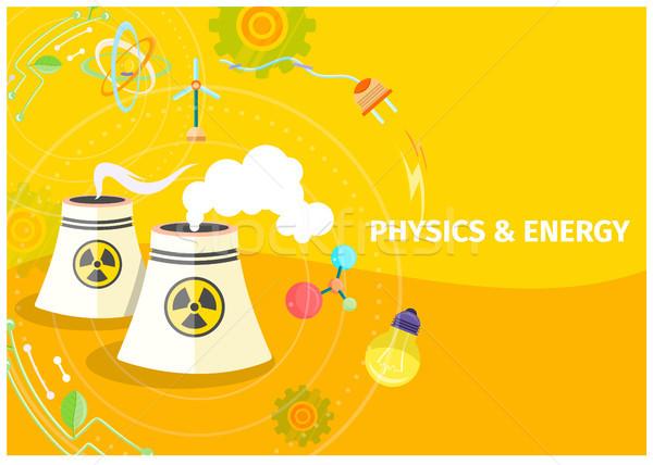 Fysica energie sjabloon chemische vector poster Stockfoto © robuart