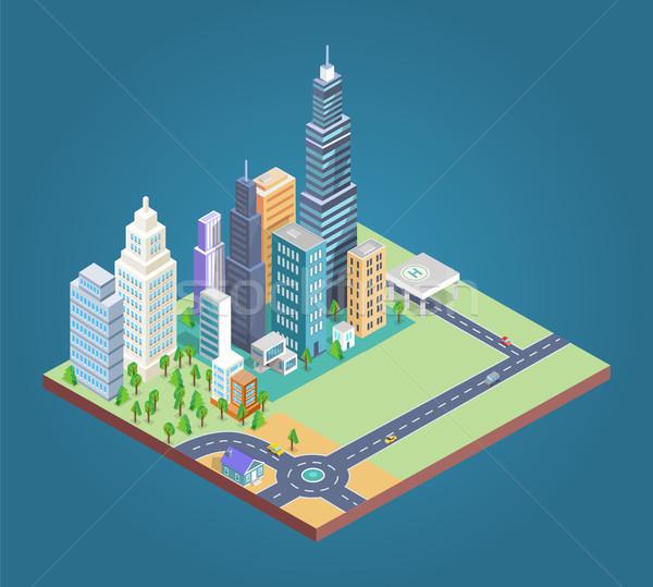 Edifícios distrito construir cartaz casas arranha-céus Foto stock © robuart