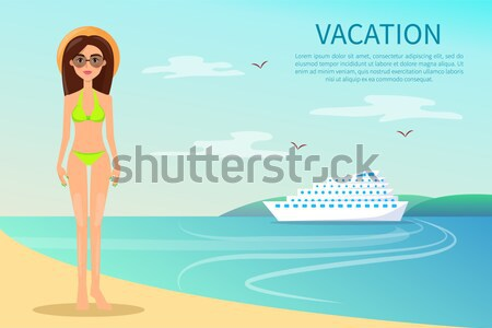Woman in Joint Red Swimsuit in White Dots Vector Stock photo © robuart