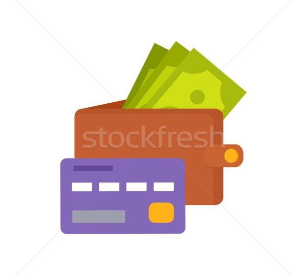Cüzdan para mor kredi kartı simgeler yalıtılmış Stok fotoğraf © robuart