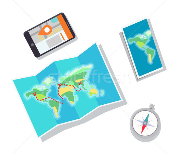 Paper Map and Mobile Phone Vector Illustration Stock photo © robuart