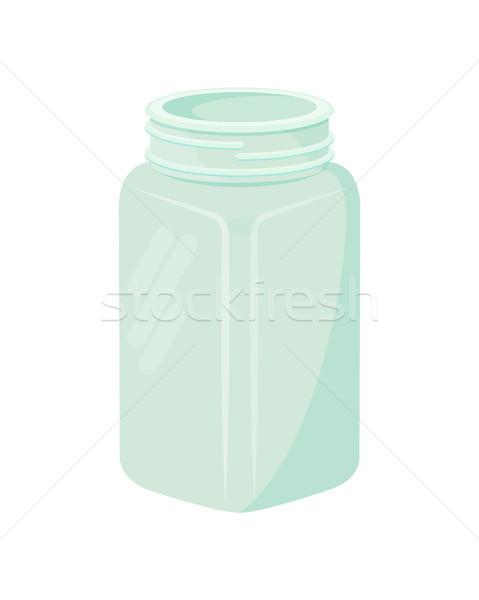 Empty Glass Jar Mug Isolated on White Background Stock photo © robuart