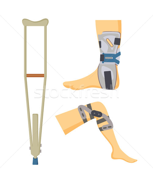 Crutch and Adjustments Set Vector Illustration Stock photo © robuart