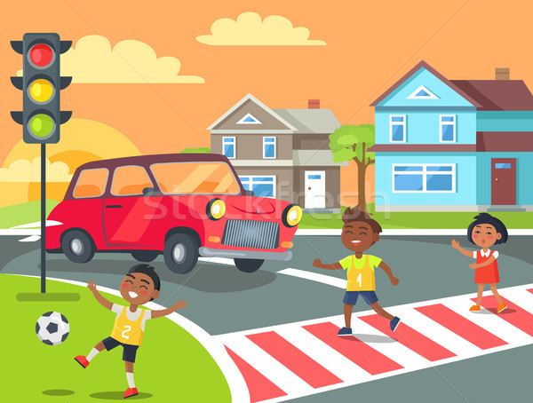 Children Playing and Crossing Road Illustration Stock photo © robuart