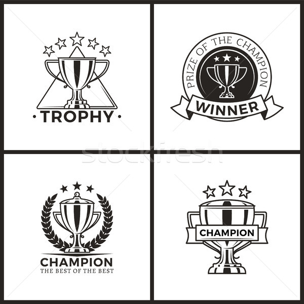 Trophies for Champions and Winners Monochrome Set Stock photo © robuart