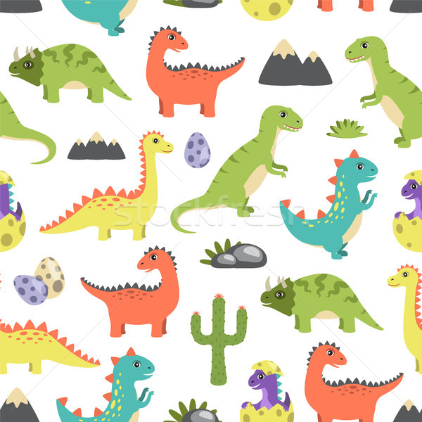 Dino Seamless Pattern Image Vector Illustration Stock photo © robuart